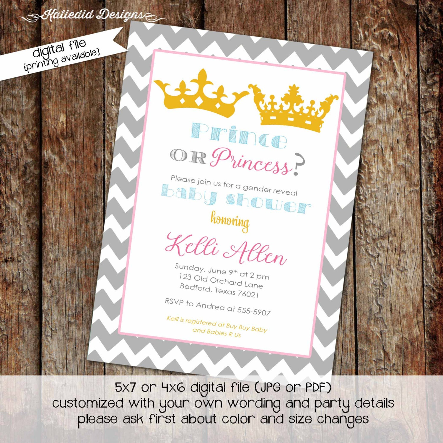 once upon a time gender reveal invitation little prince princess ...