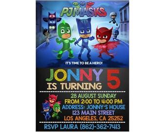 Pj Masks invitation, Pj Masks Birthday Party, Pj Masks Printable, PJ Masks Birthday Invitation, Birthday Pj Mask, Personalized, Printable