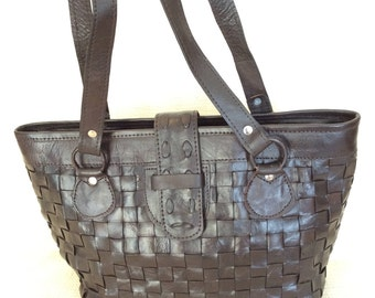Genuine vintage brown leather woven tote bag carryall