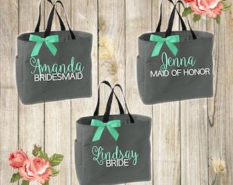 Bridesmaid personalized tote bags , bridesmaid gifts , wedding, personalized, tote bag , beach bag , bachelorette party gift ,wedding bag