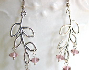 Silver Leaf Beaded Earrings