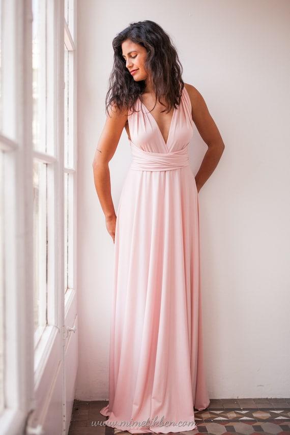 Maxi Vestido rosa cuarzo damas de honor vestido rosa cuarzo