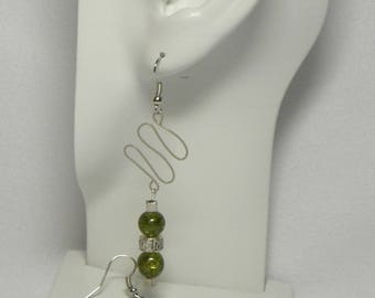Earrings: Sage Green and Silver Beaded Wire Earrings with Khaki Wavy Wire