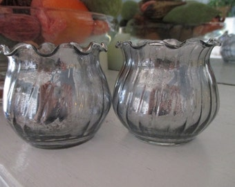 Handmade Antique Finish Small Swirled Mercury Glass Votives: Set of 2, Flameless Tea Light Candles Included
