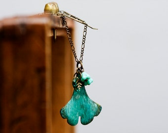 Turquoise Flowers Ginkgo Leaf Necklace Verdigris Patina Ginkgo Necklace Rustic Green Leaf Jewelry Nature Garden Spring Necklace  - N355
