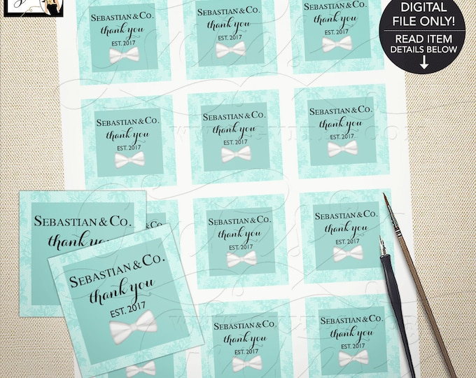 BOY-Baby and Co tags, personalized thank you labels, party favors, bow tie {Designed For Avery® 22806, 22816}