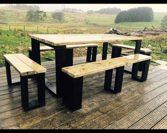 Stylish Garden Table with Benches