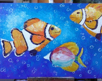 Water world ,Original oil painting on canvas board 50/70 sm