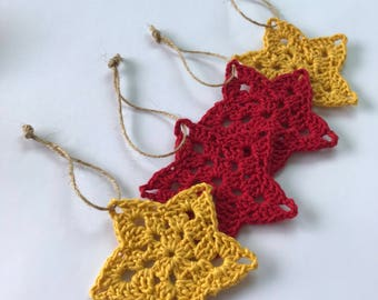 Christmas stars, crochet woven, yellow and red (set of 4 stars)
