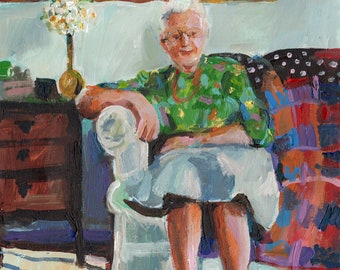 Grandma on a couch- original painting -acrylic painting on canvas