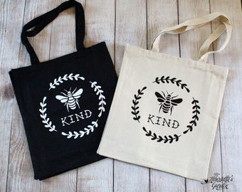 BEE KIND - Bumblebee and Laurel - Cotton Canvas Farmer's Market Tote Bag