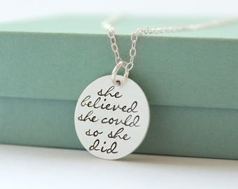 Personalized Quote Necklace - She Believed She Could Necklace - Quote Jewelry - Hand Stamped Quote Jewelry - Personalized Quote Necklace -