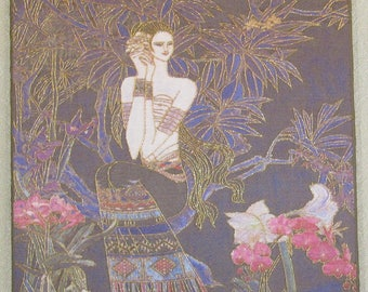 Chinese handmade silk embroidery portrait painting, soft mounted