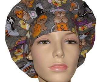 Halloween Cats In Costumes Bouffant Scrub Hat For Women