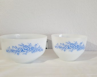 1950's Federal Glass Milk Glass Mixing Bowls with blue roses - 2 1/2 & 1 1/2 quart mbowls
