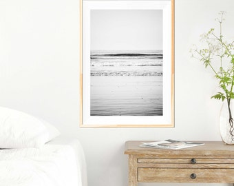 """Ocean Photography - Muted Minimalist - Silver Waves - Print Fine Art - Landscape Photography - Black and White - Nautical - """"Distant Shore"""""""