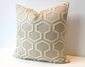 Beige and cream geometric embroidered tufted trellis decorative pillow cover
