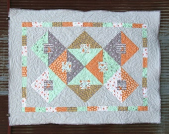 Good Natured- A Throw Sized Quilt Featuring Foxes and Other Cute Creatures with Contemporary Designs- READY TO SHIP!