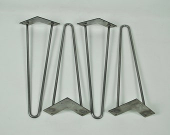 """3/8"""" ROD Hairpin Legs (set of 4 legs) 4"""" - 28"""" // Raw Steel, Black finish or  Stainless Steel"""