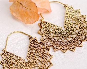 Sacred Geometry Earrings - Gypsy Earrings - Statement Earrings - Gold Earrings -Hoop Earrings - Gold Hoops - Indian Jewelry - Boho Jewelry