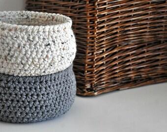 2 Small Storage Baskets Rustic Catchall Neutral Tone Bins Modern Home Decor Contemporary Design Fruit Basket Dorm Decor Back to School