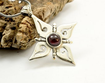 Sterling silver garnet pendant big cross necklace flower and spirals January birthstone garnet jewelry, gift for her