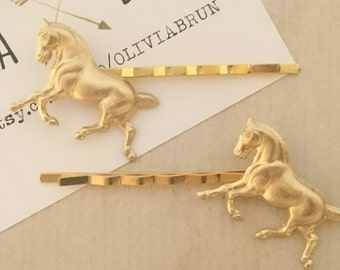 Horse Bobby Pins Gold Horse Hair Pins Animal HairClips Woodland Nature Accesories