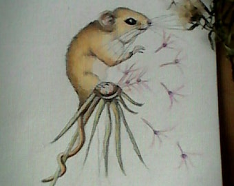 Original Mouse watercolor  painting A5 size