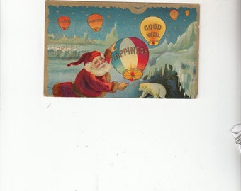 Christmas Santa Flying Hot Air Balloons W Greetings Postcard-Goodwill-Happiness-Prosperity-Antique Postcard-Gold Detail-Polar Bear