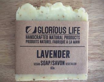 Natural Soap, LAVENDER Soap - 1 bar (2.2oz./63g) - Bar Soap, Vegan Soap, Handmade Soap, Facial Soap, Hand Soap, Scented Soap, Bath Soap
