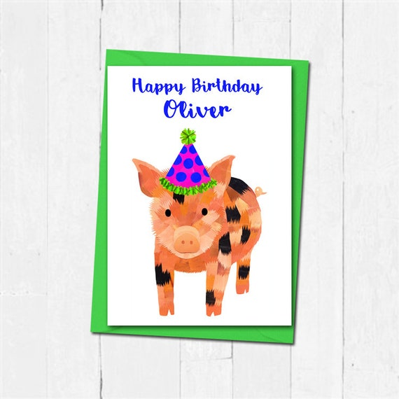 Micro Pig Birthday Card Personalised Name Birthday Card Cute