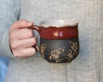 Dogwood Blossom Red Mug - Handmade - Pottery