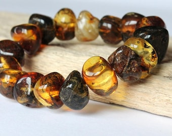 Men amber bracelet, amber jewelry, natural Baltic amber, bracelet for him, multicolor amber beads, bracelet for men, jewelry for him, amber