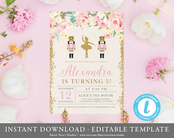 Rosey Nutcracker Birthday Invitation Card  | Instant Download, Editable, Printable |  Ballerina Watercolor Flowers Winter Birthday