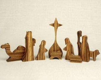 Nativity Set (Zebrawood) (#12) Nativity Scene, Manger Scene, Creche, Baby Jesus, Nativity Silhouette