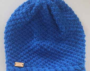 Hand-knit Seed Stitch Cable Hat