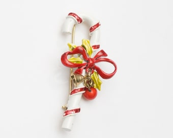 Vintage ART Candy Cane and Holly Bells Christmas Holiday Brooch Pin