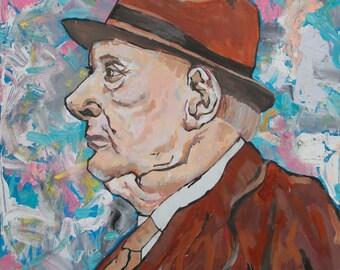 Original Art Portrait Expressionist Art Portrait Writer Canvas Art Home Decor L.S. Lowry Portrait