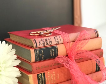 Blush Pink with Black and Gold Books | Peach and Gold | Pink and Gold | Vintage Book Stack | Decorative Books | Peach Books | Pink Books