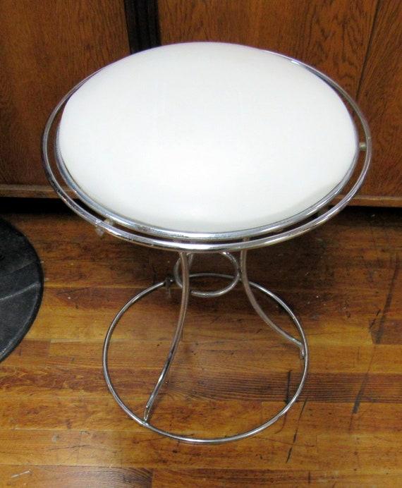 Vanity stool chrome and white