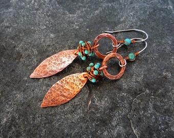 Turquoise copper earrings, Textured copper, Boho earrings, Artisan jewelry, Hypoallergenic earrings