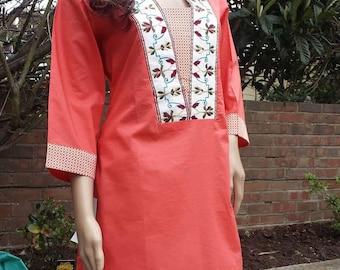 Indian Pakistani embroidered kurta kurti Kameez with trouser pyjama shalwar