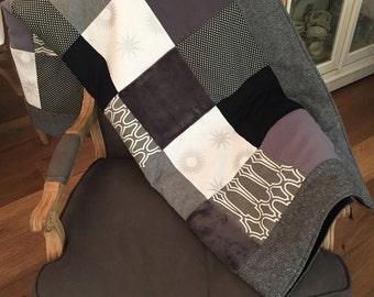 Dark Grey Quilt. Modern Patch Quilt. YOU CHOOSE SIZE. Comfy Cozy Handmade Bedding Quilt. Patchwork Printed Quilt. Grey Quilt. Memory Blanket