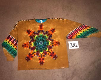 Tie Dye T-Shirt ~ Fire Mandala With Palomino Gold Background ~ i_6432 in Long Sleeve 3XL