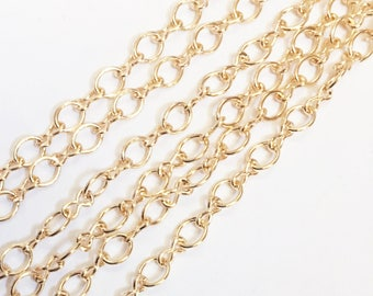15ft of light gold plated chain, gold plated  steel large  figure 8 chain 4.1X 6.1mm, bulk gold chain