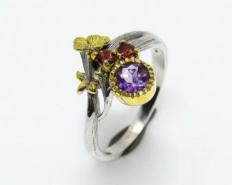 Purple Amethyst Ring, Red Garnet Ring, Flower Ring, Unique Nature Inspired Ring, Botanical Ring, Floral Ring, Dainty Ring, engagement ring