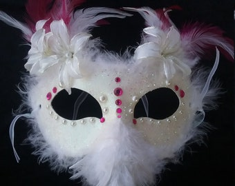 Pink and while dove mask