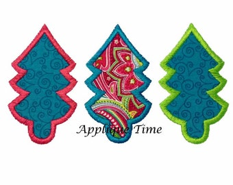 Instant Download Christmas Tree Trio Machine Embroidery Applique Design 4x4, 5x7 and 6x10