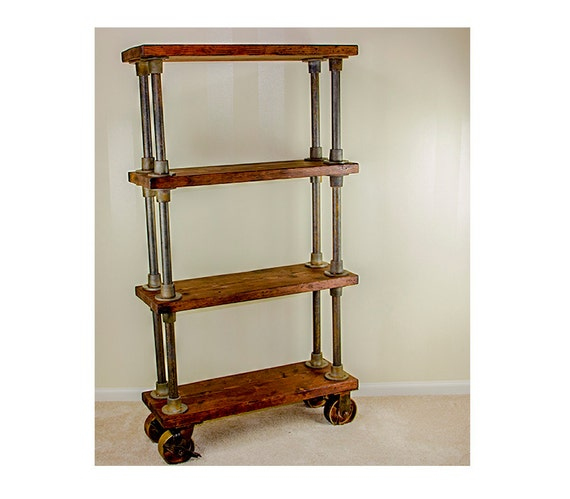 Charming Bookcase | Bookshelf | Rustic Shelf | Industrial Shelving | Wooden Bookcase  | Wooden Bookshelf | Bookshelves | Casters | Shelves On Wheels