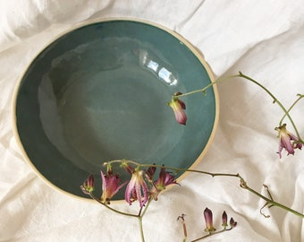 Shallow deep green and blue ceramic serving bowl